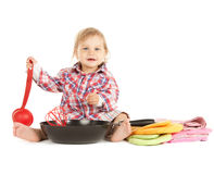 Adorable baby cook with pan. Bright picture of adorable baby cook with pan Stock Photography