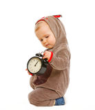 Adorable baby in costume with alarm clock Stock Photography