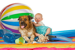 Adorable baby with dog Royalty Free Stock Photos