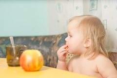 Adorable baby eat bread while drink tea Stock Photos