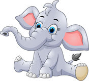 Adorable baby elephant sit Stock Images