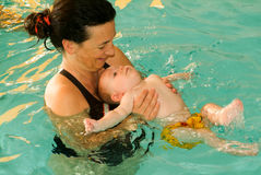 Adorable baby enjoying swimming in a pool with his mother. Lugano, Switzerland - 18 October 2007: Adorable baby enjoying swimming in a pool with his mother royalty free stock image