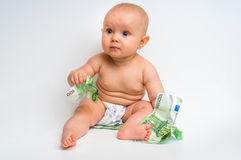 Adorable baby with euro bills money - isolated on white Stock Photo