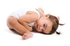 Adorable baby girl. Portrait adorable baby girl isolated stock photo