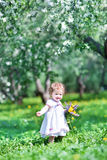 Adorable baby girl in a beautiful apple tree garden Royalty Free Stock Images