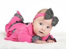 Adorable baby girl on blanket Stock Photo