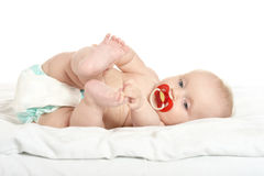 Adorable baby girl on blanket Royalty Free Stock Images