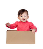 Adorable baby girl in a box Royalty Free Stock Photo