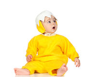 Adorable baby girl with chicken costume Royalty Free Stock Image