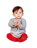 Adorable baby girl clapping Stock Images