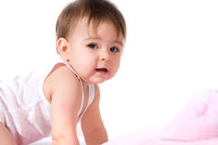 Adorable baby girl crawling Stock Photography