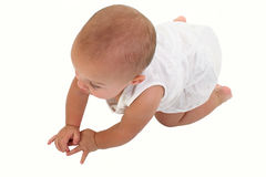 Adorable Baby Girl Crawling On Floor Royalty Free Stock Photography