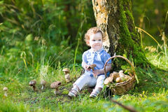 Adorable baby girl with curly hair gathering mushrooms in park Royalty Free Stock Images