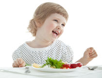 Adorable baby girl eating Royalty Free Stock Photo