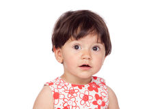 Adorable baby girl with floral dress royalty free stock images
