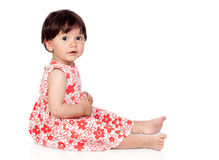 Adorable baby girl with floral dress Stock Photography