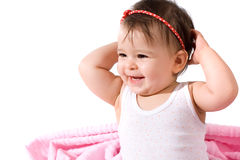 Adorable baby girl laughing Stock Images