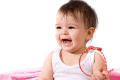 Adorable baby girl laughing Stock Photography