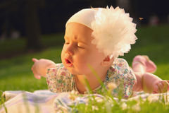Adorable baby girl lying on green summer lawn Royalty Free Stock Image