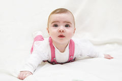 Adorable baby girl lying on white. 5 month old stock photography