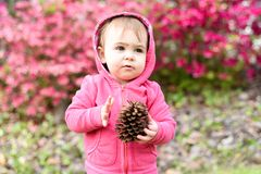 Adorable baby girl of 12 months old stock photo