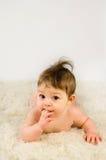 Adorable baby girl naked Stock Image