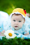 Adorable baby girl outdoors in the grass Stock Image