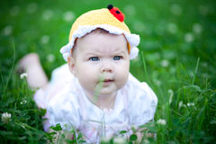 Adorable baby girl outdoors in the grass Stock Images