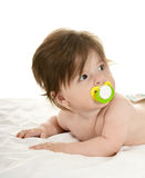 Adorable baby girl  with pacifier Royalty Free Stock Images
