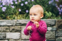 Adorable baby girl playing outside. Outdoor portrait of adorable 9-12 month old baby girl playing with purple flowers Royalty Free Stock Photos