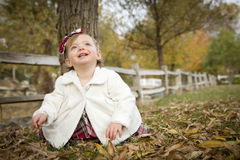 Adorable Baby Girl Playing in Park Royalty Free Stock Images