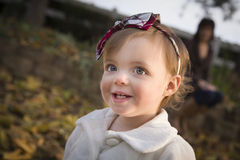 Adorable Baby Girl Playing in Park with Mom Royalty Free Stock Photography