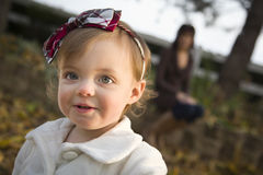 Adorable Baby Girl Playing in Park with Mom Royalty Free Stock Photo