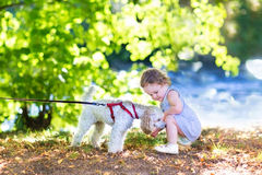 Adorable baby girl with pudel dog on river shore Royalty Free Stock Images