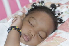 Adorable baby girl sleeping in her room (one year old) Royalty Free Stock Images