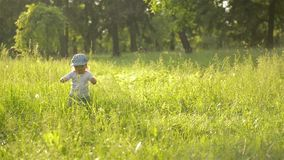 Adorable baby girl walking in a beautiful summer garden, warm sunny day. Child walking on grass, good mood, beautiful park, outdoor stock video footage
