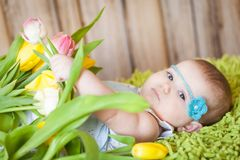 Adorable Baby Girl With Tulips Royalty Free Stock Photo