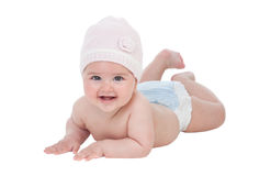 Adorable baby girl with wool hat Stock Images