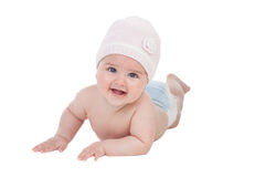 Adorable baby girl with wool hat Royalty Free Stock Photo