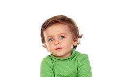 Adorable baby with green shirt Stock Images