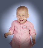 Adorable baby without hair beating the disease Royalty Free Stock Photos