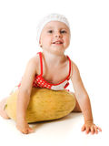 An adorable baby happily playing melon Royalty Free Stock Photos