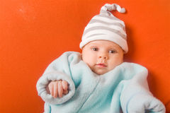 Adorable baby in hat Stock Photo