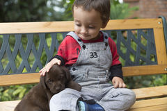 Adorable Baby And His Dog Stock Photos