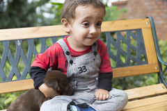 Adorable Baby And His Dog Royalty Free Stock Photography
