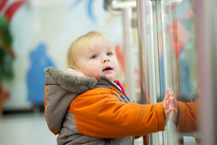 Adorable baby holds glass border in supermarket Stock Photos
