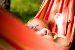 Adorable baby lie in hammock resting Stock Photography