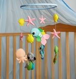 Adorable baby mobile with sea animals made from felt.Handmade toy.  stock photography