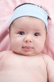 Adorable baby newborn with blue eyes Stock Photos