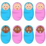 Adorable Baby Newborn Boy & Girl Set Royalty Free Stock Image